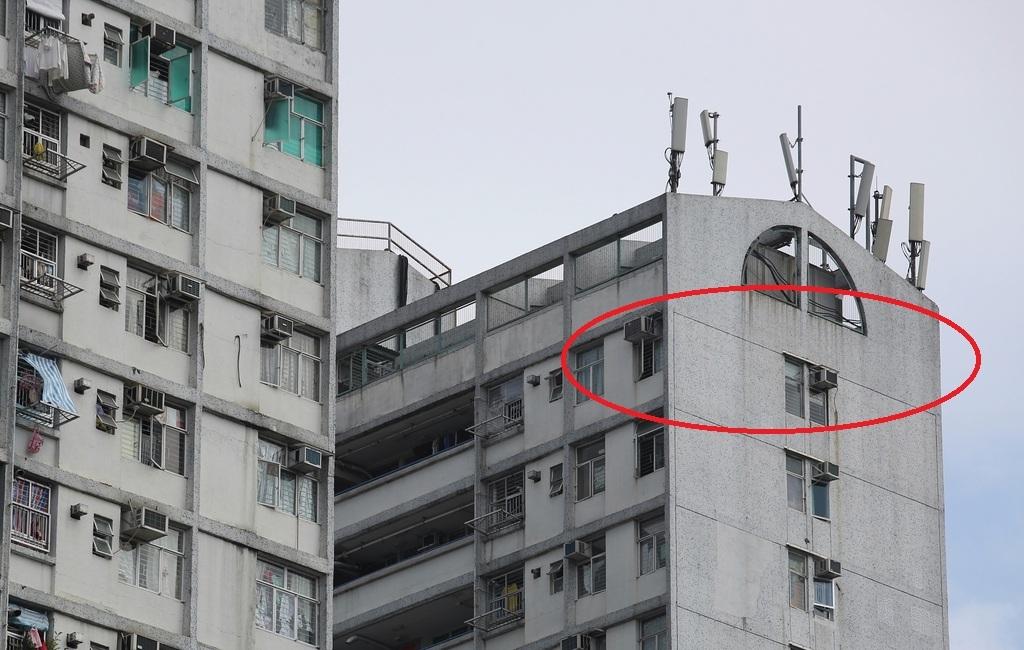 廖家住在平易樓頂層單位,貼其屋頂有12支手機發射站。(陳靜儀攝)