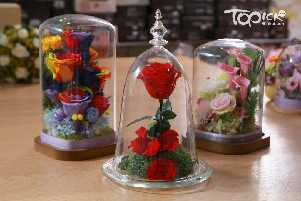 這種保鮮花玻璃瓶擺設近年在香港很流行。(曾有為攝)