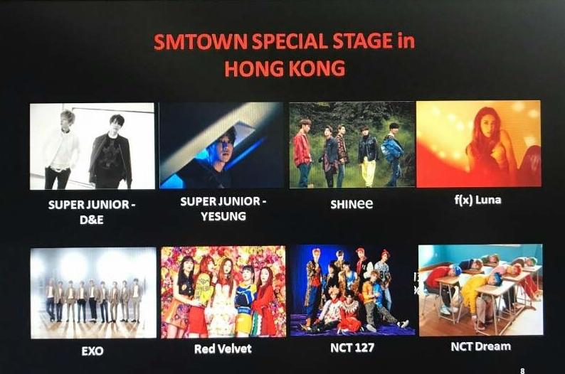 8月5日本港舉行的首個SMTOWN Special Stage in Hong Kong 演唱會,8隊頂尖韓國歌手單位將來港表演。(旅發局相片)