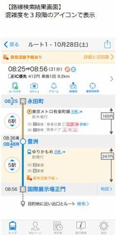 使用App檢索路線時,會特別顯示擠擁的路線與車站。(圖片來源:App截圖)