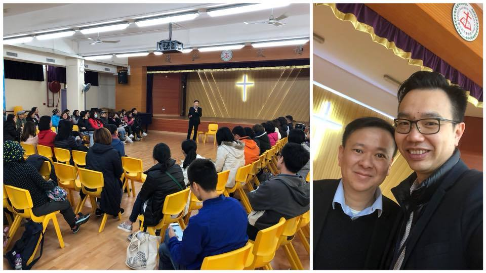 天虹現任校長朱子穎(右)與候任校長馮耀章(左)在校內舉辦家長會。(朱子穎facebook)