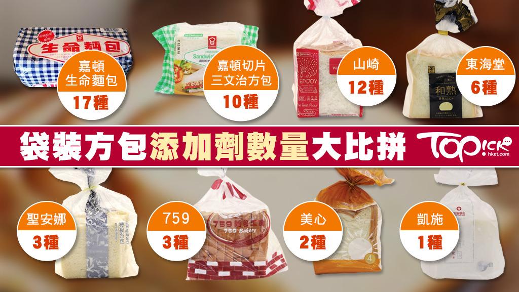 市面常見的9款袋裝方包中,8款分別含1至17種添加劑,Bread Talk方包則不詳。