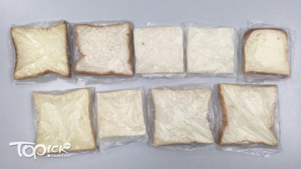 凱施(上排中間)和東海堂(下排左一)方包在購入後第5天率先出現霉點。(陳子謙攝)
