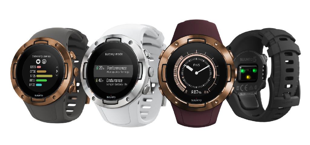 Suunto 5備有All Black、White、Burgundy Copper 和 Graphite Copper四種設計款式,零售價為$2 ,990。