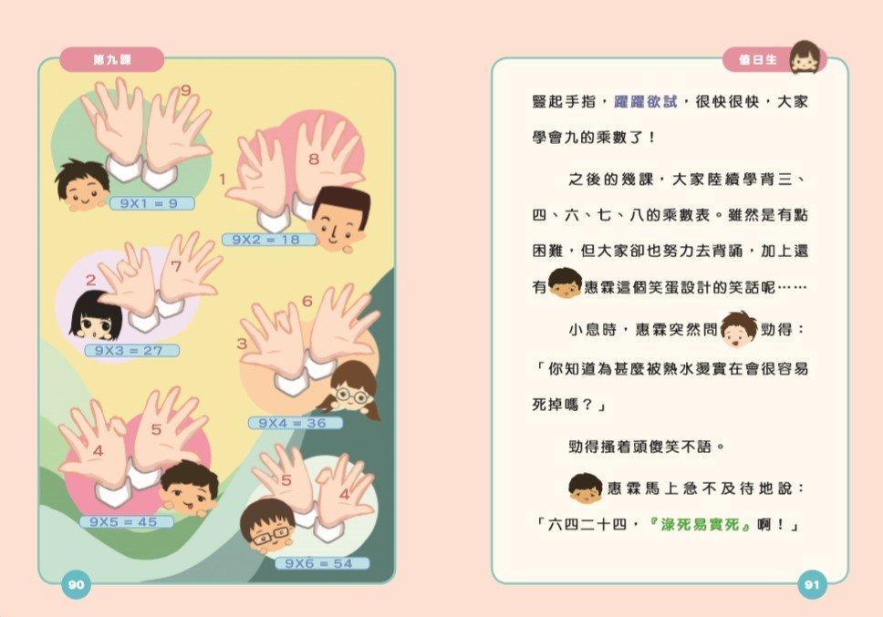 在新書《齊做數學小天使》中,雅燕媽媽繼續在有趣的校園故事滲入學習元素,今次便教小朋友用十隻手指記乘數表的方法。(被訪者提供)