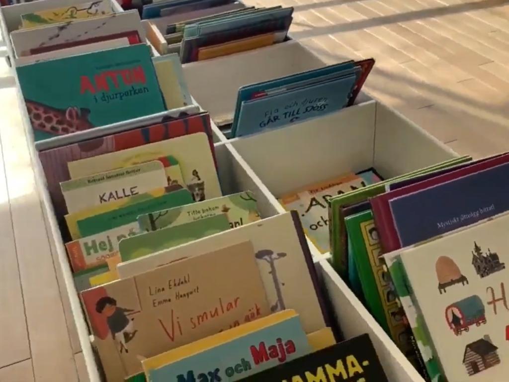 兒童圖書按英文字母排列。(影片截圖)