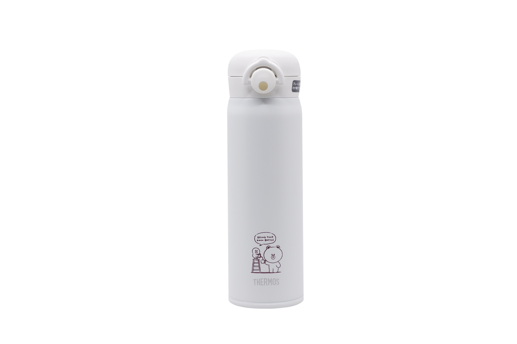 LINE FRIENDS meets THERMOS限定版保溫瓶,以雙層優質不銹鋼內部抽真空處理,內裏的真空隔熱層能有效達到保溫效果。($418)(官方圖片)